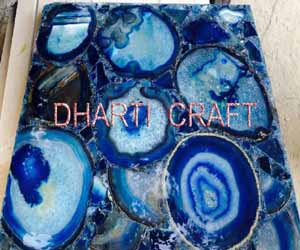 Blue color agate Stone slab