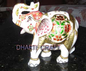 White Marble Elephant with pure gold work for home Decorative